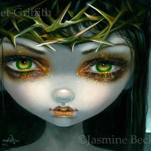 jasmine with crown faces of faery 240 crown of thorns by jasmine becket griffith