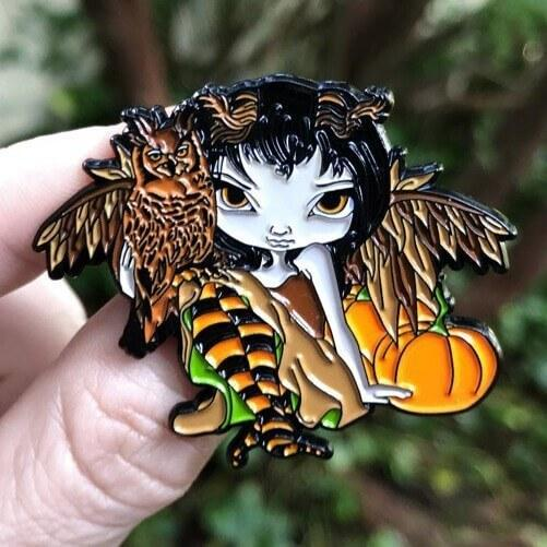 Owlyn In Autumn Collectible Enamel Pin Strangeling The